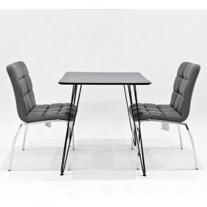 Maguire Dining Set with 2 Chairs Metro Lane Colour (Chair): Grey, Colour (Table Top): Black