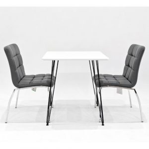 Maguire Dining Set with 2 Chairs Metro Lane Colour (Chair): Grey, Colour (Table Top): White
