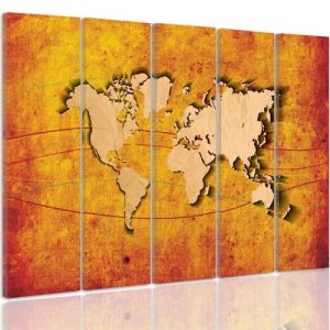 'Map of the World' - 5 Piece Wrapped Canvas Graphic Art Print Set Feeby Size: 140cm H x 300cm W x 3cm D