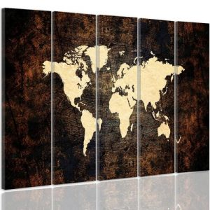 Map of the World on the Stage 2 - 5 Piece Wrapped Canvas Graphic Art Print Set Feeby Size: 100 cm H x 150 cm W x 3 cm D