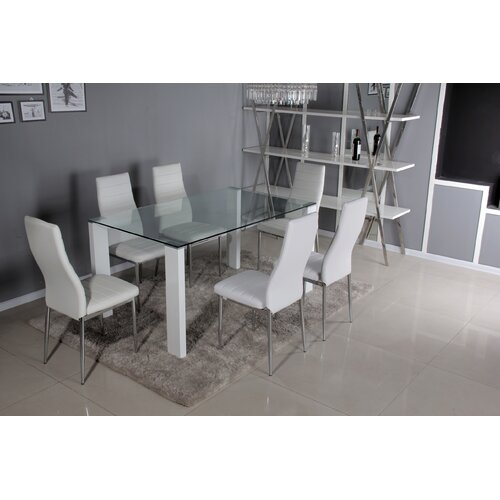 Mentone Dining Set with 6 Chairs Ivy Bronx Chair Colour: White