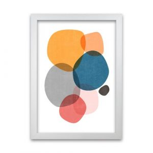 Mid Mod Abstract Shapes Original - Graphic Art Print on Paper Norden Home Frame Option: White Frame, Size: 30cm H x 21cm W x 3cm D