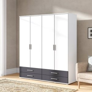 Olpe-Extra 4 Door Wardrobe Rauch Body and front colour: White / Black