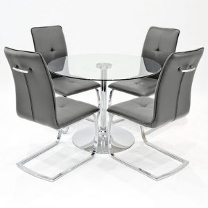 Quintanar Dining Set with 4 Chairs Ivy Bronx