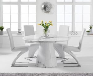 Ravello 130cm Round White Marble Dining Table with Hampstead Chairs - Black, 4 Chairs