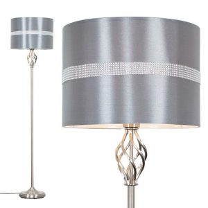 Rhinehart 149cm Traditional Floor Lamp ClassicLiving Shade Colour: Grey, Base Finish: Brushed Chrome, Bulb: Not Included