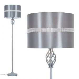 Rhinehart 149cm Traditional Floor Lamp ClassicLiving Shade Colour: Grey, Base Finish: Grey, Bulb: Included