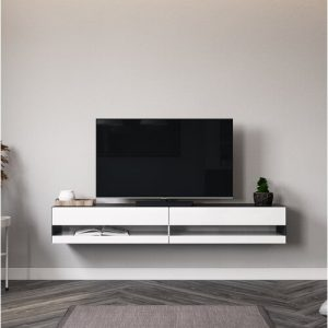 "Robertson TV Stand for TVs up to 88"" Latitude Run Colour: Black/Glossy white"