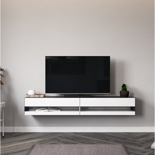 """Robertson TV Stand for TVs up to 88"""" Latitude Run Colour: Black/Glossy white"""