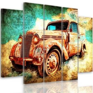 'Rusty Car' - 5 Piece Wrapped Canvas Graphic Art Print Set Feeby Size: 100cm H x 200cm W x 3cm D