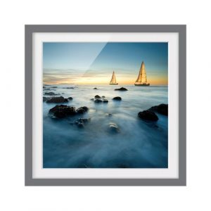 Sailing Ships on the Ocean Framed Photographic Art Print East Urban Home Size: 50cm H x 50cm W, Frame Options: Matt grey