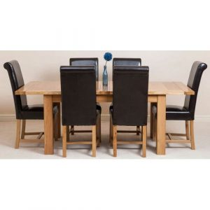 Sairsingh Kitchen Solid Oak Dining Set with 6 Chairs Rosalind Wheeler Colour (Chair): Brown