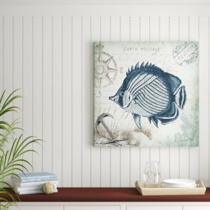 'Seaside Postcard Fish III' by Tre Sorelle Studios Graphic Art Print on Wrapped Canvas Highland Dunes Size: 91.44cm H x 91.44cm W