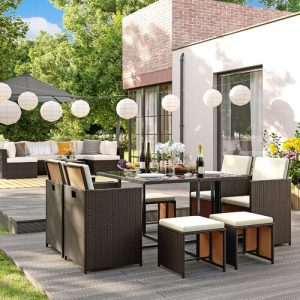 Set Of 9 PE Rattan Garden Furniture Set Dining Table And Chairs, Outdoor Patio Furniture, Glass Top Coffee Table, With Cushions, Easy Storage, Space-S