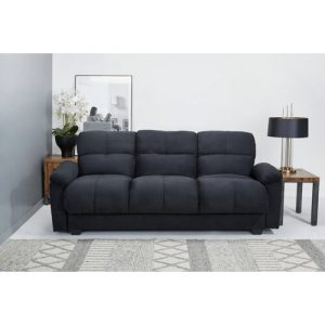 Tana Sofa Bed With Fold Down Table And Storage In Beige Fabric Leader Lifestyle Upholstery Colour: Black