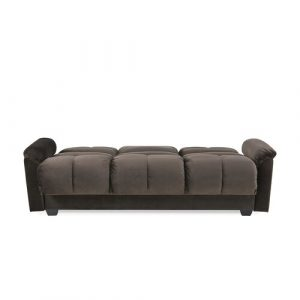 Tana Sofa Bed With Fold Down Table And Storage In Beige Fabric Leader Lifestyle Upholstery Colour: Brown