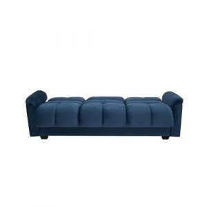 Tana Sofa Bed With Fold Down Table And Storage In Beige Fabric Leader Lifestyle Upholstery Colour: Ocean Blue