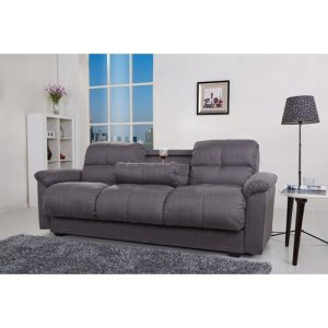 Tana Sofa Bed With Fold Down Table And Storage In Beige Fabric Leader Lifestyle Upholstery Colour: Willow Grey