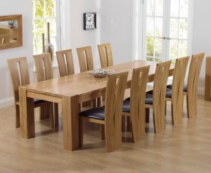Thames 300cm Oak Dining Table with Montreal Chairs - Grey, 8 Chairs