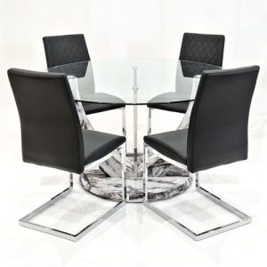 Titus Dining Set with 4 Chairs Metro Lane Colour (Chair): Black