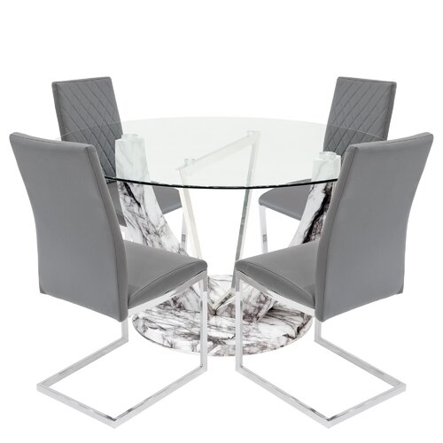 Titus Dining Set with 4 Chairs Metro Lane Colour (Chair): Grey