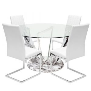 Titus Dining Set with 4 Chairs Metro Lane Colour (Chair): White