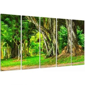 'Trees in the Park' - 5 Piece Wrapped Canvas Graphic Art Print Set Feeby Size: 70cm H x 100cm W x 3cm D
