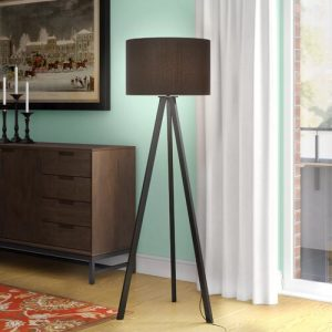 Trivet 159cm Tripod Floor Lamp Mikado Living Shade Colour: Black