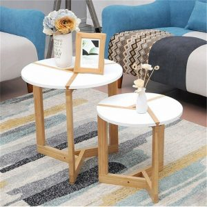 Turner 50 * 51cm Modern Round Side Tea Coffee Table Small White End Tables Living Room Bed Room Bar Hotel Bamboo Leg Norden Home