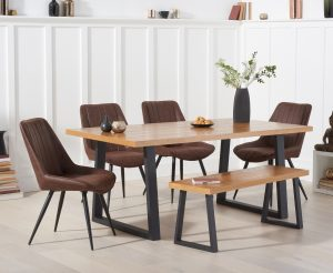 Urban 180cm Dining Table with Marcel Antique Chairs and Benches - Mink, 4 Chairs