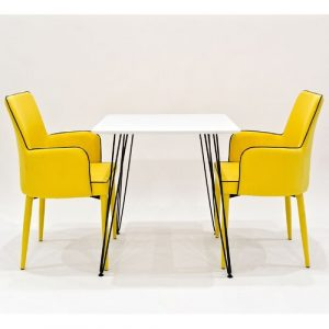 Voris Dining Set with 2 Chairs Rosalind Wheeler Chair Colour: Yellow