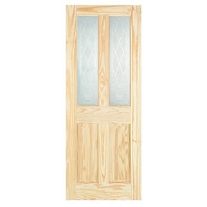 Wickes Skipton Glazed Clear Pine 4 Panel Internal Door - 1981mm x 686mm