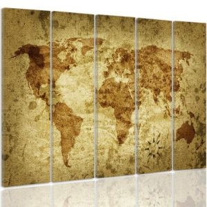 'World Map 2' - 5 Piece Wrapped Canvas Graphic Art Print Set Feeby Size: 100cm H x 150cm W x 3cm D