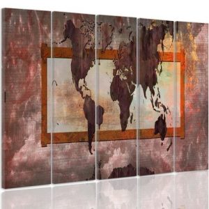 'World Map Composition 5' - 5 Piece Wrapped Canvas Graphic Art Print Set Feeby Size: 70cm H x 100cm W x 3cm D