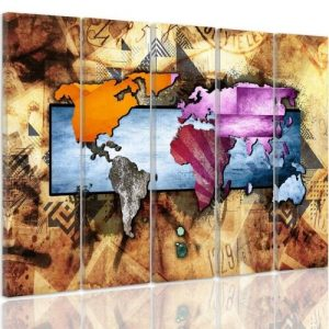 'World Map Composition 6' - 5 Piece Wrapped Canvas Graphic Art Print Set Feeby Size: 70cm H x 100cm W x 3cm D