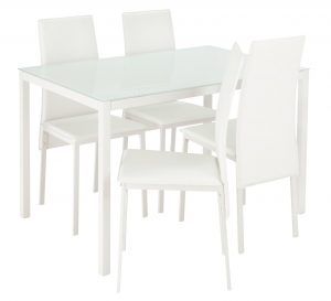 Argos Home Lido Glass Dining Table & 4 White Chairs