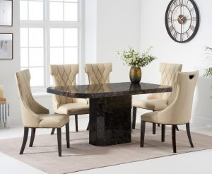 Belle 160cm Brown Marble Dining Table With Freya Dining Chairs
