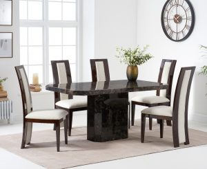 Belle 160cm Brown Marble Dining Table With Raphael Dining Chairs