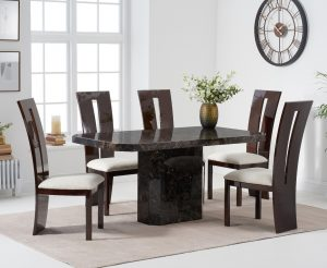 Belle 160cm Brown Marble Dining Table With Verbier Dining Chairs