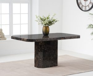 Belle 160cm Marble Brown Dining Table