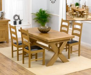 Bordeaux 160cm Solid Oak Extending Dining Table with Vermont Chairs - Timber, 4 Chairs