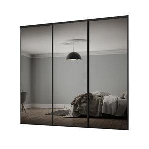 Classic Mirrored 3 door Sliding Wardrobe Door kit (H)2260mm (W)2216mm