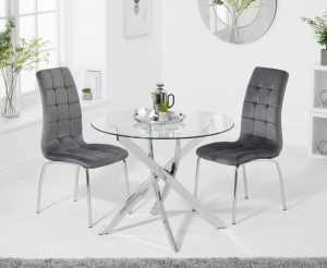 Denver 95cm Glass Dining Table with Calgary Velvet Chairs - Grey, 2 Chairs