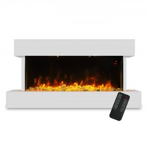 Devola 2kW Electric Fireplace Suite White 558x1170mm - DVWFS2000WH (Return Unit) - (Used) Grade A