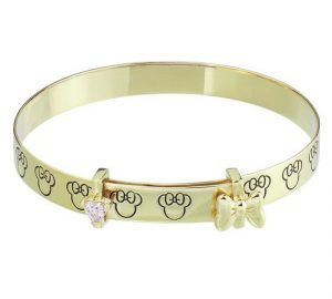 Disney 9ct Gold Plated Minnie Mouse Bangle - 18 Mnth-3 Years