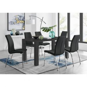Eubanks 6 Black Dining Table And 6 Black Chairs