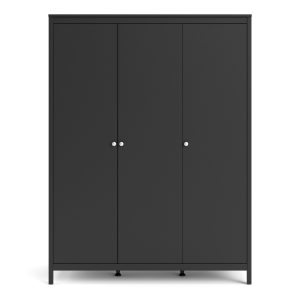 Granada Large Wardrobe with 3 Doors in Matt Black