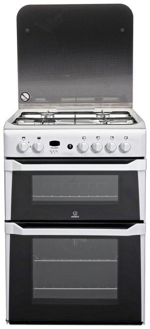 Indesit ID60G2W 60cm Double Oven Gas Cooker - White