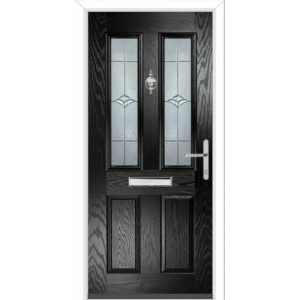 Lexie PVC 4 Panel Ready to Install Glazed Front Entry Door