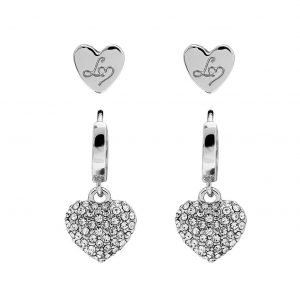 Lipsy Silver Plated Round Crystal Padlock Drop Earrings